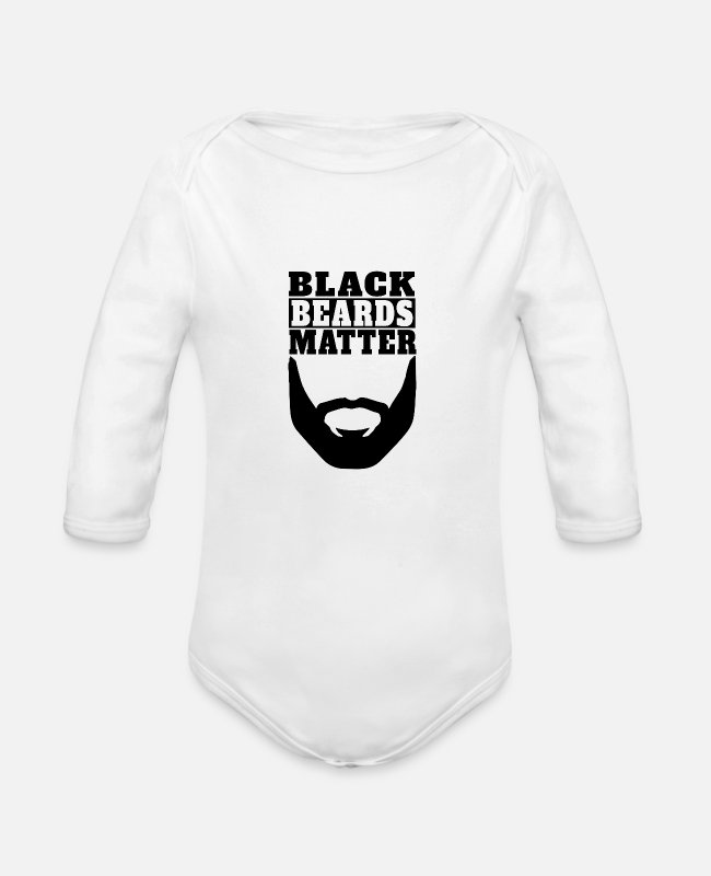 Beard Baby One Pieces - Black Beards Matter - Organic Long-Sleeved Baby Bodysuit white