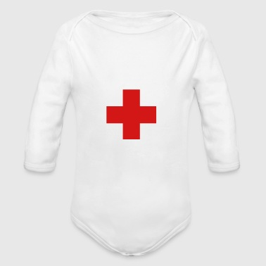 cross swiss red - Organic Long Sleeve Baby Bodysuit