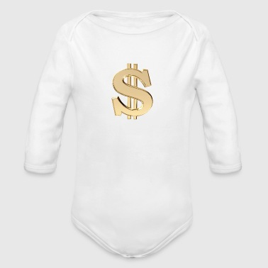 3D dollar sign - Organic Long Sleeve Baby Bodysuit
