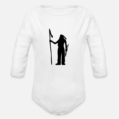American Indian American Indian Silhouette - Organic Long Sleeve Baby Bodysuit