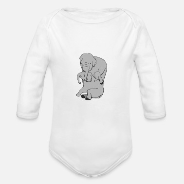 Occassionally Mr. Elephant, and family - Organic Long-Sleeved Baby Bodysuit