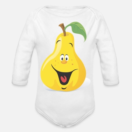 Birthday Baby Clothing - Cartoon Pear - Organic Long-Sleeved Baby Bodysuit white