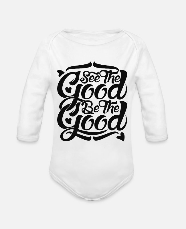 Artist Baby One Pieces - See The Good - Organic Long-Sleeved Baby Bodysuit white