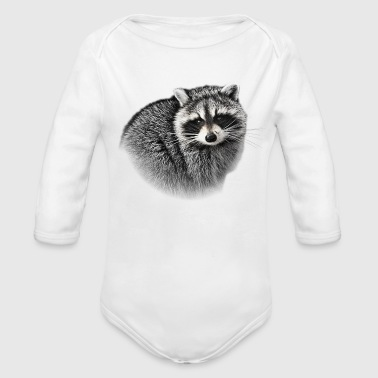 Cute Gentle Raccoon - Organic Long Sleeve Baby Bodysuit