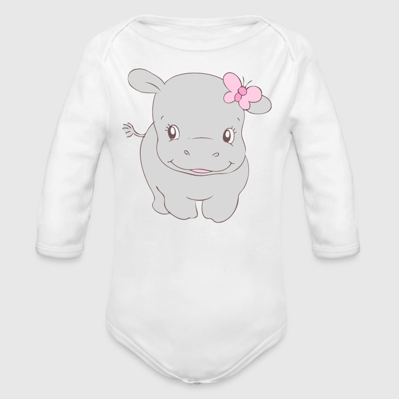 Girl Hippo Hippy - Organic Long Sleeve Baby Bodysuit