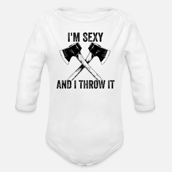 Axe Baby Clothing - Axe throwing throwing Tomahawk double ax gift - Organic Long-Sleeved Baby Bodysuit white