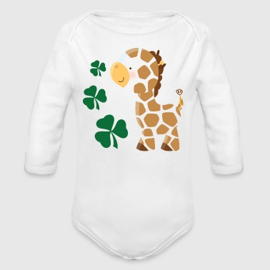Irish St Patricks Giraffe Shamrock - Organic Long Sleeve Baby Bodysuit
