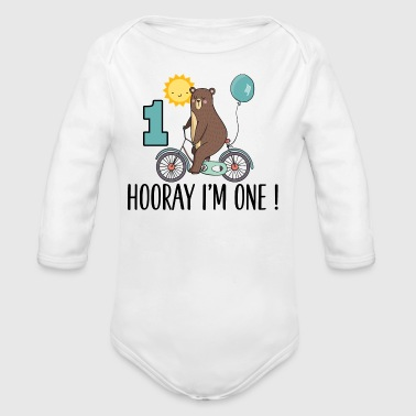 1st Birthday Bear I'm One Year Old - Long Sleeve Baby Bodysuit
