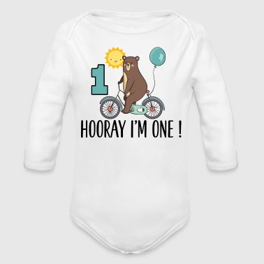 1st Birthday Bear I'm One Year Old - Organic Long Sleeve Baby Bodysuit