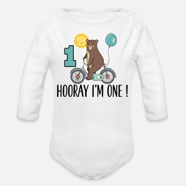 Happy Birthday 1st Birthday Bear I'm One Year Old - Organic Long Sleeve Baby Bodysuit
