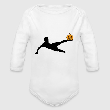 Halloween Soccer Player Volley - Organic Long Sleeve Baby Bodysuit