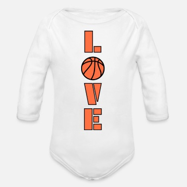 I Love Basketball i love basketball! - Organic Long-Sleeved Baby Bodysuit