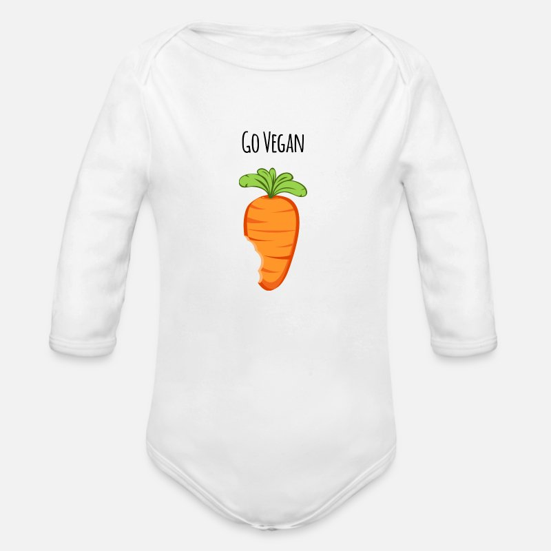 Health Baby Clothing - Go Vegan - Long-Sleeved Baby Bodysuit white