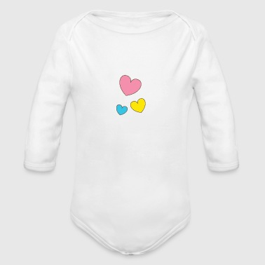 Hearts, Illustration, Love, Valentine's Day, Amor - Organic Long Sleeve Baby Bodysuit