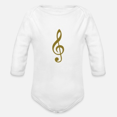 Treble Clef treble clef - Organic Long-Sleeved Baby Bodysuit