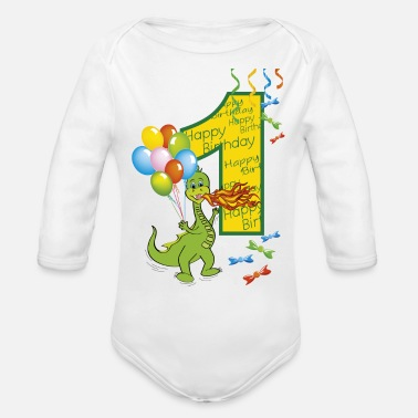 Year Of Birth 1st birthday first birthday one year 1 - Organic Long-Sleeved Baby Bodysuit
