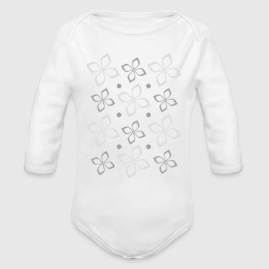 grey flower - Organic Long Sleeve Baby Bodysuit