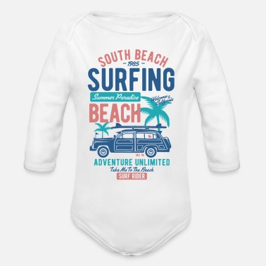 Beach Camping South Beach - Surfing - Camping Shirt - Organic Long-Sleeved Baby Bodysuit