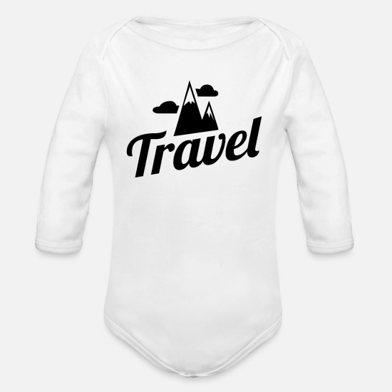Typography Baby Clothing - Travel Travel - Organic Long-Sleeved Baby Bodysuit white