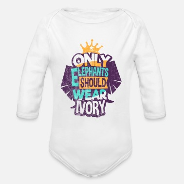 Animal Protection Elephant Animal Protection Ivory - Organic Long-Sleeved Baby Bodysuit