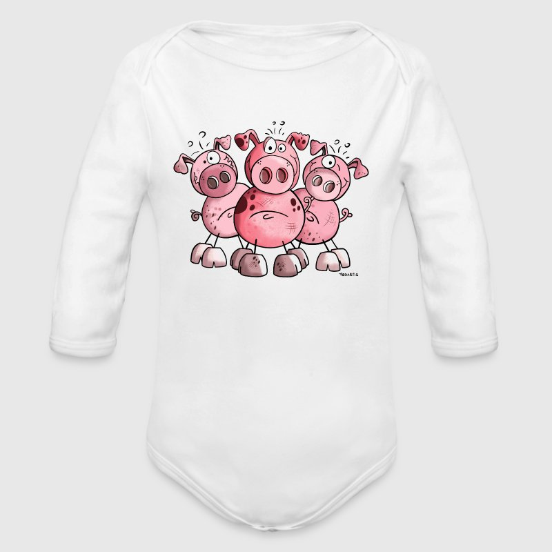 Three funny pigs - Pig - Sow - Cartoon - Gift  - Organic Long Sleeve Baby Bodysuit