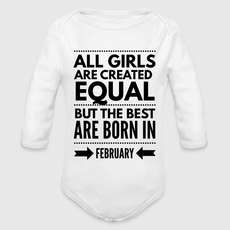 February birthday design girls - Long Sleeve Baby Bodysuit