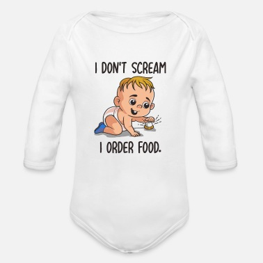 Funny Baby Body Funny Baby Body Design with I order Food - Organic Long-Sleeved Baby Bodysuit