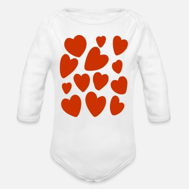 Lot Lots of hearts and lots of love - Organic Long-Sleeved Baby Bodysuit