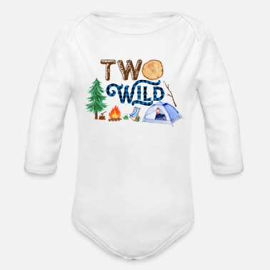 Two Wild,Second Birthday Shirt,Camping Birthday - Organic Long-Sleeved Baby Bodysuit
