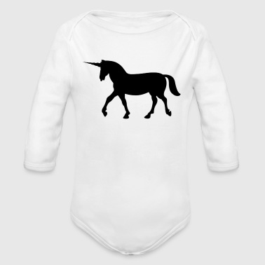 Unicorn shadows - Organic Long Sleeve Baby Bodysuit
