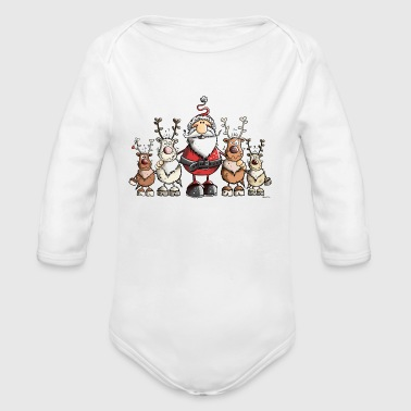 Santa Claus and his Reindeers - Christmas - Gift - Long Sleeve Baby Bodysuit
