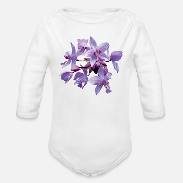 Dew Purple Orchids With Dew - Organic Long-Sleeved Baby Bodysuit