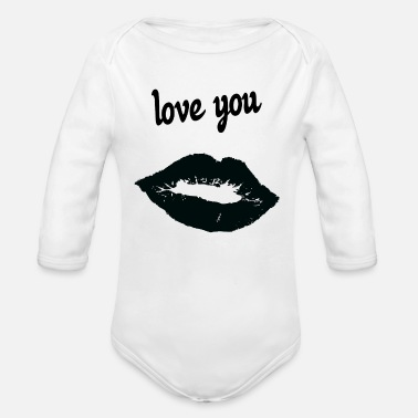 Affection Dedication affection love - Organic Long-Sleeved Baby Bodysuit