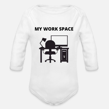 Workspace My Workspace Home Office Working From Home - Organic Long-Sleeved Baby Bodysuit