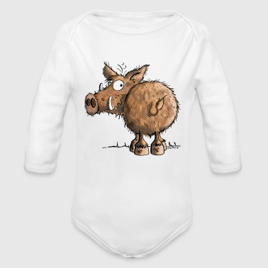 Boar Funny Wild Boar - Wildlife - Gift - Cartoon - Pig - Organic Long Sleeve Baby Bodysuit