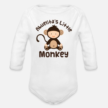 Grandkid Abuelita Little Monkey Grandson Gift - Organic Long Sleeve Baby Bodysuit