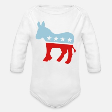 Party Democrat Donkey TWO COLOR - Organic Long Sleeve Baby Bodysuit