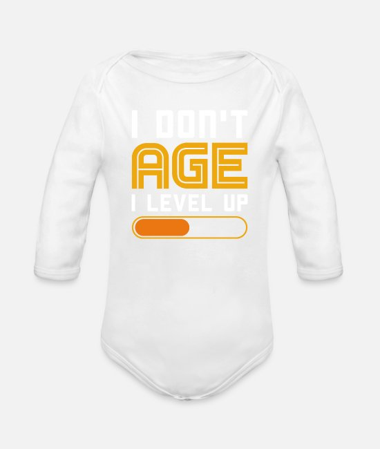 Video Game Baby One Pieces - I Dont Age I Level Up Gaming Shirt Console PC - Organic Long-Sleeved Baby Bodysuit white