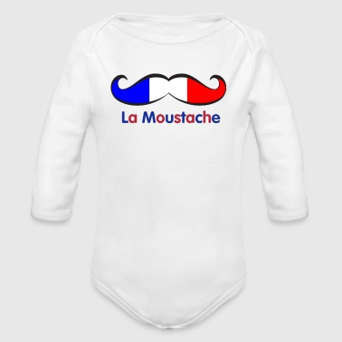 French Flag Mustache - Organic Long Sleeve Baby Bodysuit
