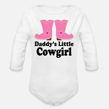 Girl Daddy Little Cowgirl Girls - Organic Long-Sleeved Baby Bodysuit