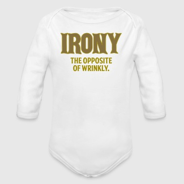 Irony the opposite of wrinkly - Organic Long Sleeve Baby Bodysuit