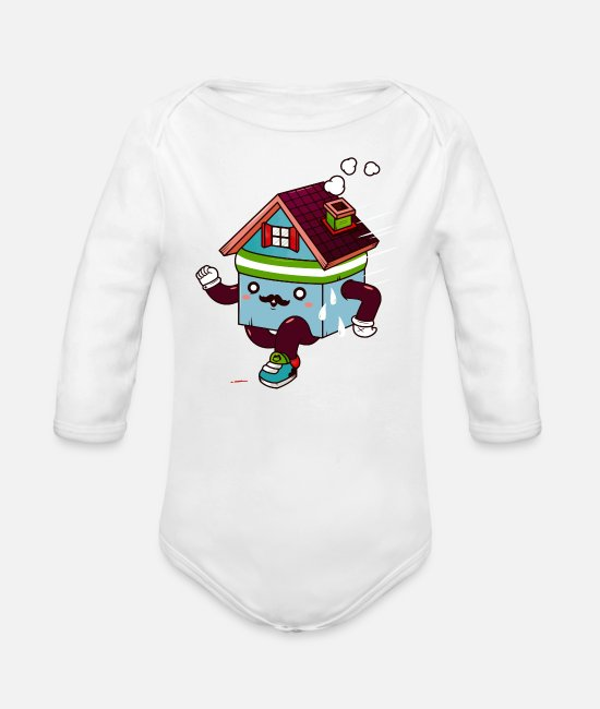 Movie Baby One Pieces - home sweat home - Organic Long-Sleeved Baby Bodysuit white