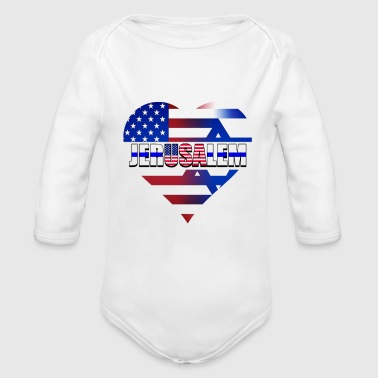State Capital USA IN THE HEART OF JERUSALEM (CAPITAL OF ISRAEL) - Organic Long Sleeve Baby Bodysuit