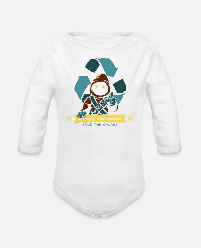 Movie Baby One Pieces - Save the Galaxy - Organic Long-Sleeved Baby Bodysuit white