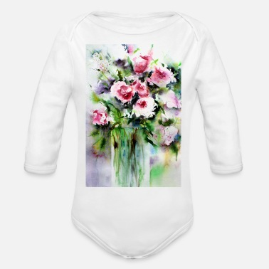 Flower Art Style - Organic Long Sleeve Baby Bodysuit