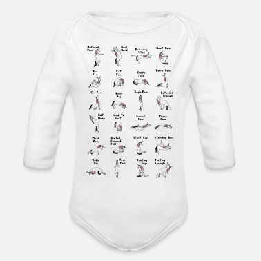 Geek 24 Yoga Unicorn Poses, White - Organic Long-Sleeved Baby Bodysuit