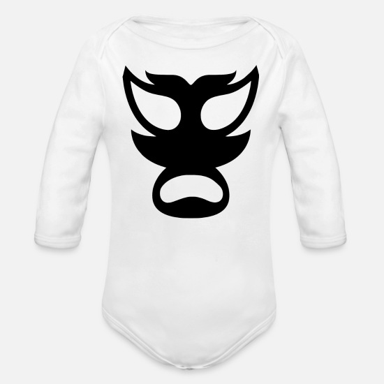Birthday Baby Clothing - Mask - Horror, Demon, Wrestling - Masks - Organic Long-Sleeved Baby Bodysuit white