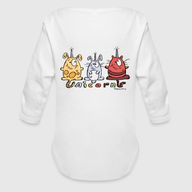 Three Funny Unicorns - Organic Long Sleeve Baby Bodysuit
