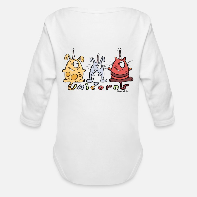 Unicorn Baby Clothing - Three Funny Unicorns - Long-Sleeved Baby Bodysuit white