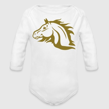 horse with flames as mane - Organic Long Sleeve Baby Bodysuit
